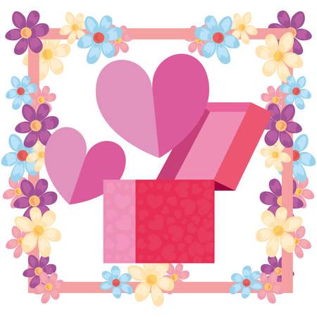 gift box flowers romantic hearts vector illustration
