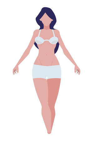 thin woman with underwear character vector illustration design