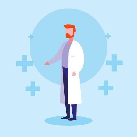 man doctor avatar character vector illustration design
