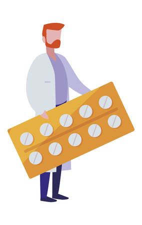 male doctor with tablet pills vector illustration design