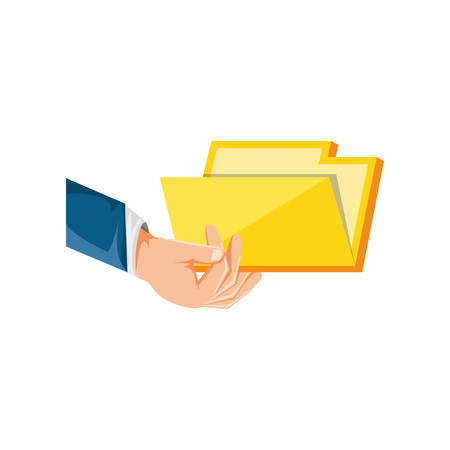 hand with folder document isolated icon vector illustration design 向量圖像