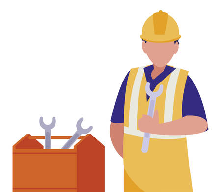 industrial worker with toolbox avatar character vector illustration design Ilustrace