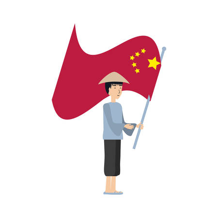 man peasant with flag chinese avatar character vector illustration design