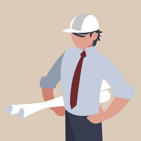 elegant engineer with planes paper vector illustration design