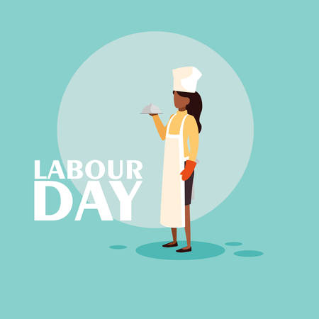 labour day celebration with professional chef female vector illustration design