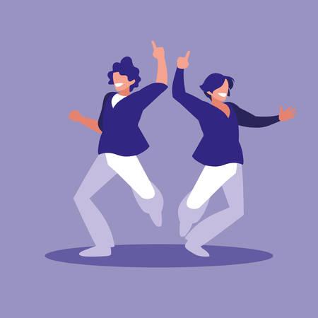 men dancing avatar character vector illustration design  イラスト・ベクター素材