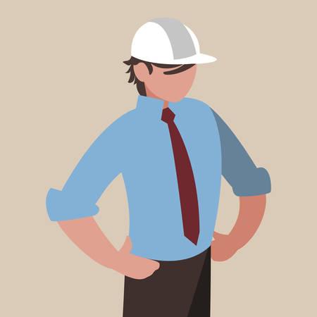elegant engineer with helmet vector illustration design