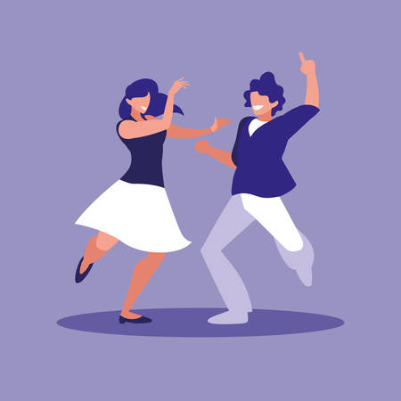 couple dancing avatar character vector illustration design Ilustração