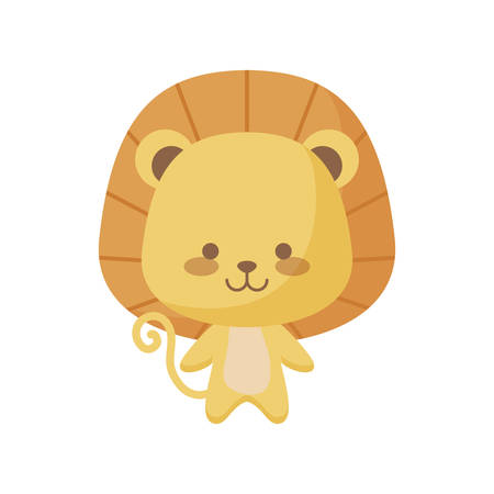cute lion animal character vector illustration design