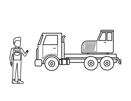 crane truck with worker man vector illustration design