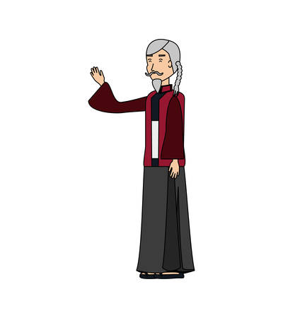 chinese old man with traditional costume vector illustration design