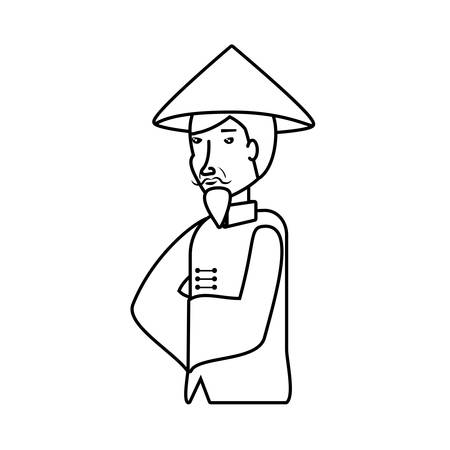 old man chinese peasant avatar character vector illustration design