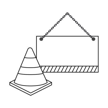 cone with signaling hanging isolated icon vector illustration design Ilustração