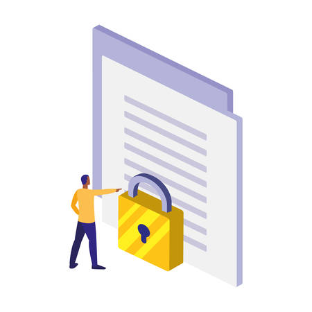 paper document with padlock vector illustration design