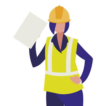 female industrial worker character vector illustration design