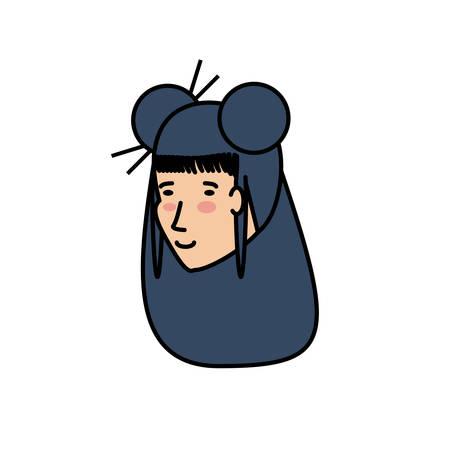 head of geisha woman avatar character vector illustration design Banque d'images - 123320581