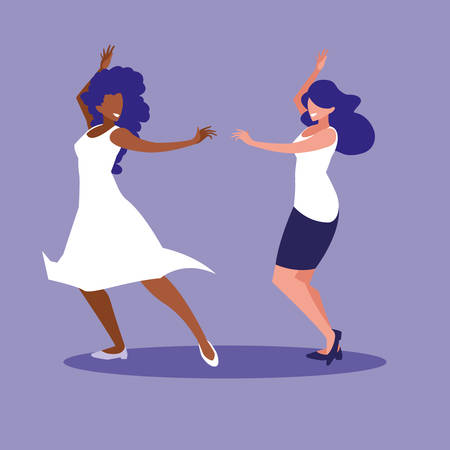 women dancing avatar character vector illustration design