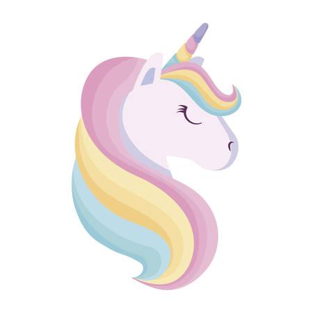 head of cute unicorn isolated icon vector illustration design Illustration