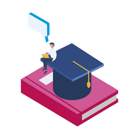 text book with graduation hat vector illustration design Illustration