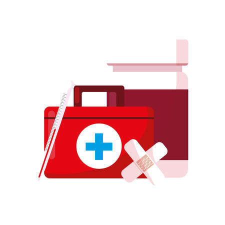 medical kit with medicine icons vector illustration design 矢量图像