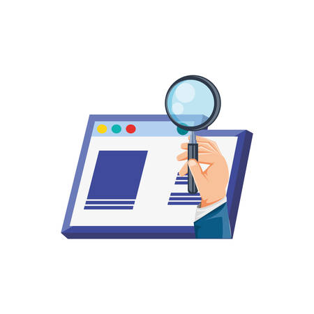 hand with magnifying glass and template webpage vector illustration design