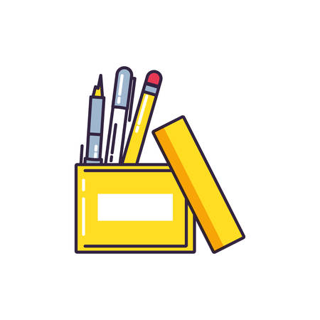 box office with pencils isolated icon vector illustration design Ilustração