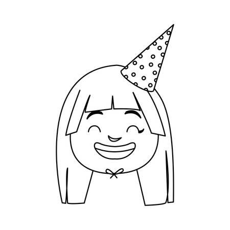 cute happy girl head with birthday hat vector illustration design Vector Illustration