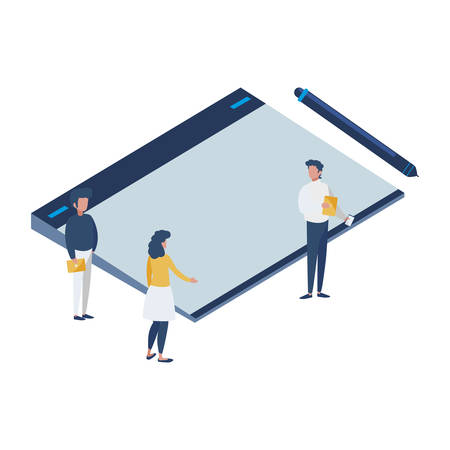 graphic design board and mini people vector illustration design