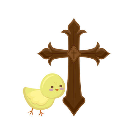 cross catholic with cute chicken isolated icon vector illustration design