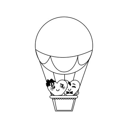couple hearts in balloon air hot characters vector illustration design  イラスト・ベクター素材
