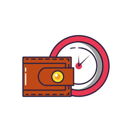 clock time with wallet money vector illustration design Ilustrace