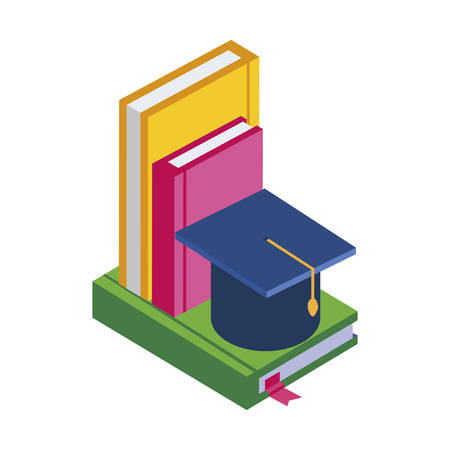 text books with graduation hat vector illustration design Illustration
