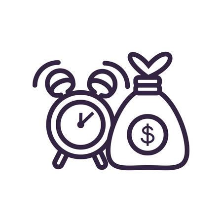 money bag with alarm clock vector illustration design