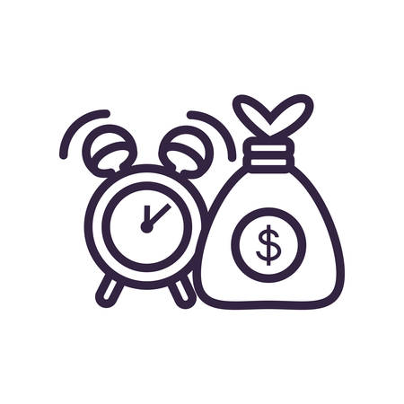 money bag with alarm clock vector illustration design