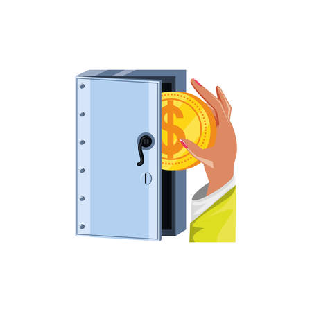 hand with coin and safe box security vector illustration design