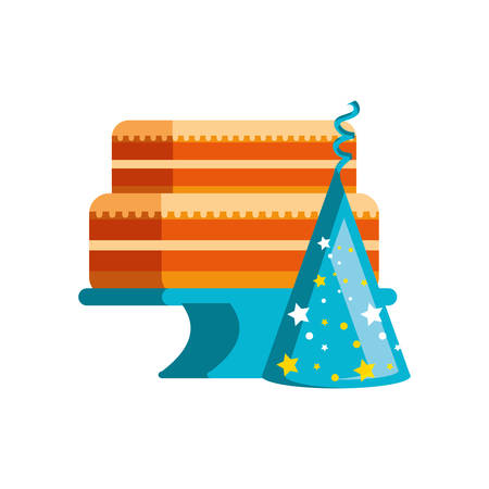sweet cake of birthday with hat party vector illustration design