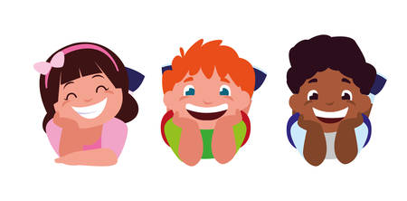 happy little interracial kids characters vector illustration design 向量圖像