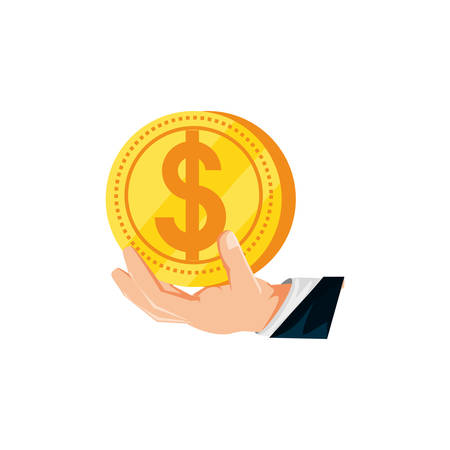hand with coin dollar isolated icon vector illustration design Ilustrace