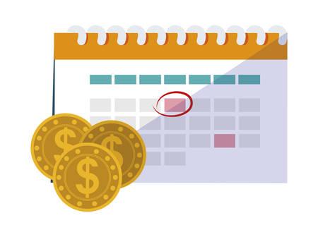 coins money with calendar vector illustration design