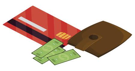 credit card with wallet money vector illustration design 向量圖像