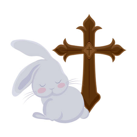 cross catholic with cute rabbit isolated icon vector illustration design