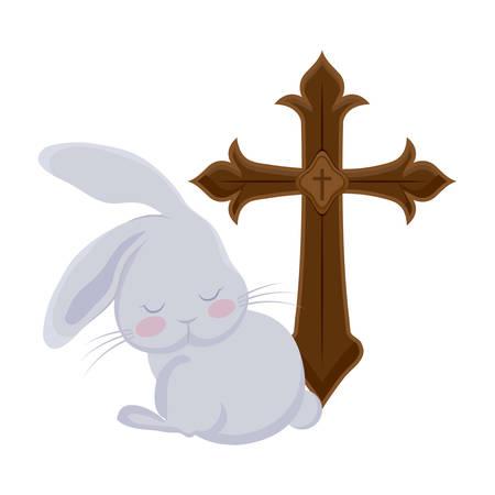 cross catholic with cute rabbit isolated icon vector illustration design