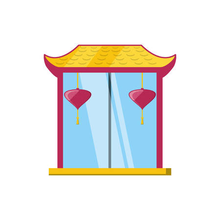 chinese portal with lantern hanging vector illustration design