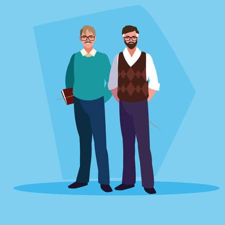 teachers men avatar character vector illustration design