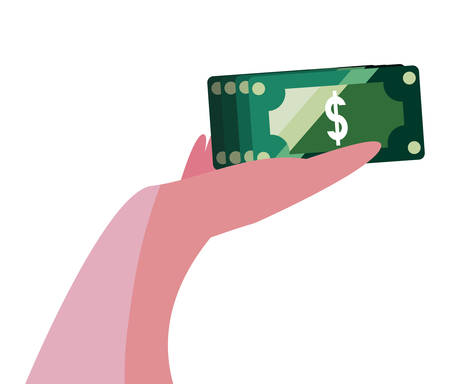 hand with banknotes money vector illustration design
