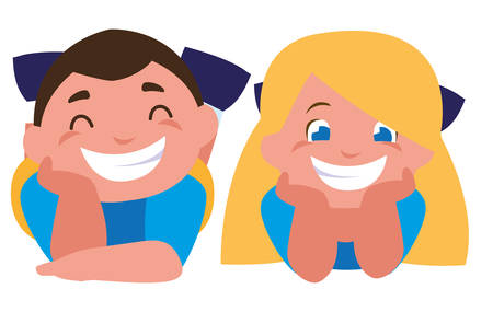happy little kids characters vector illustration design