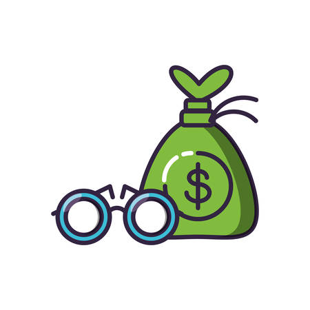 optical eyeglasses with money bag vector illustration design