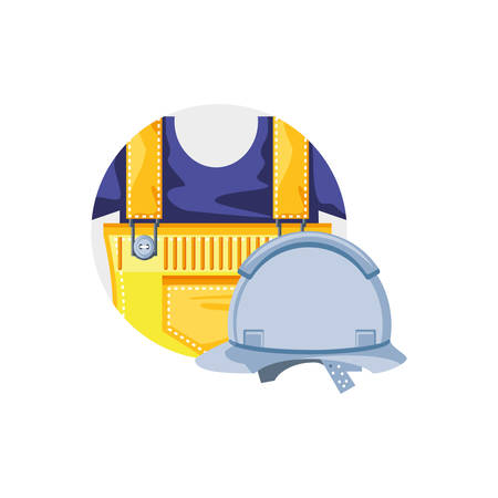 overall uniform construction in frame circular with helmet security vector illustration design  イラスト・ベクター素材