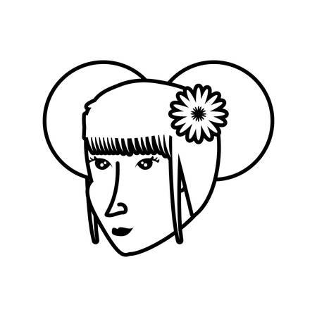 head of geisha woman avatar character vector illustration design