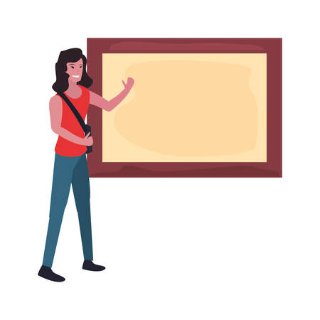 female photographer and board labour day vector illustration Ilustrace